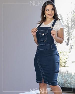 Conjunto Jardineira jeans + blusinha | Moda Evangelica e Executiva
