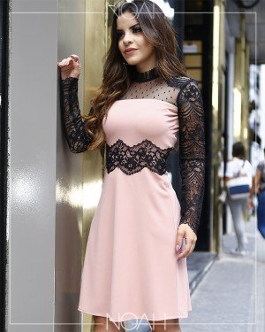 Vestido leve evasê rosé | Moda Evangelica e Executiva