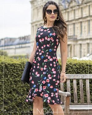 Vestido sino c/ estampa floral | Moda Evangelica e Executiva