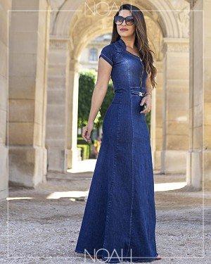Vestido longo jeans manga curta | Moda Evangelica e Executiva