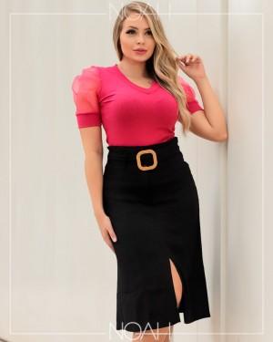 Conj. saia midi preta e blusa bufante pink | Moda Evangelica e Executiva