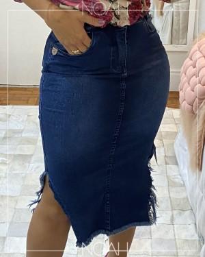 saia lápis jeans escuro com fendas | Moda Evangelica e Executiva