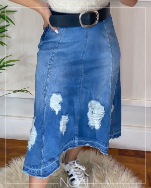 Saia midi mullet jeans | Moda Evangelica e Executiva