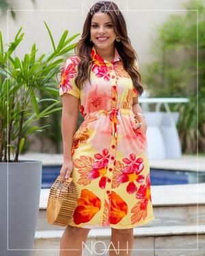 Vestido chemise manga curta amarelo floral | Moda Evangelica e Executiva