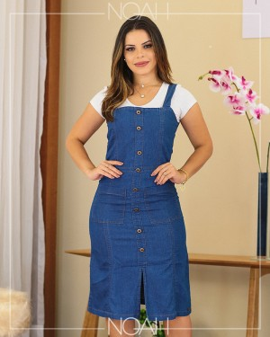 Vestido midi jeans leve | Moda Evangelica e Executiva