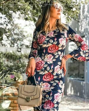 Vestido tubinho floral | Moda Evangelica e Executiva