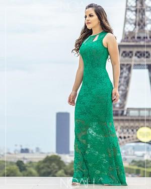 Vestido longo renda verde | Moda Evangelica e Executiva
